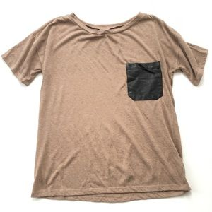 Urban Outfitters Faux Leather Pocket Tee S